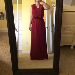 Dresses & Skirts - Red Gown with Flower belt